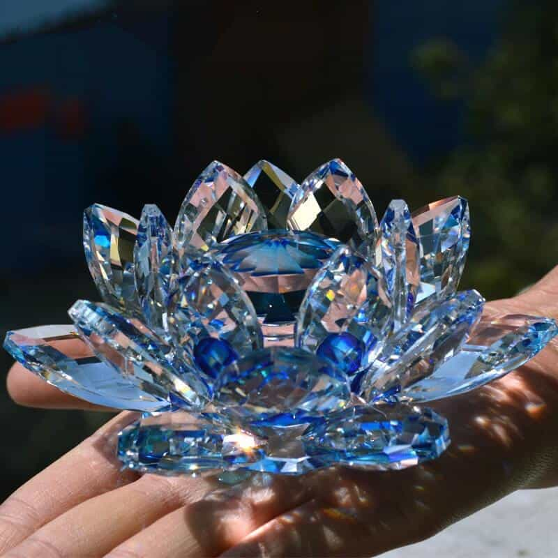 Blue crystal feng shui lotus flower feng shui best buy mightylinksfo Image collections