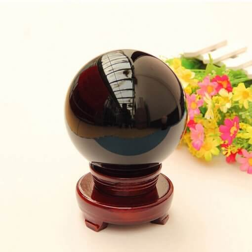 Black Feng Shui Crystal Healing Ball