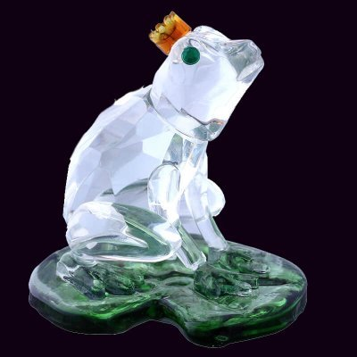 1.9inch Crystal Frog on Lotus Figurines Feng Shui