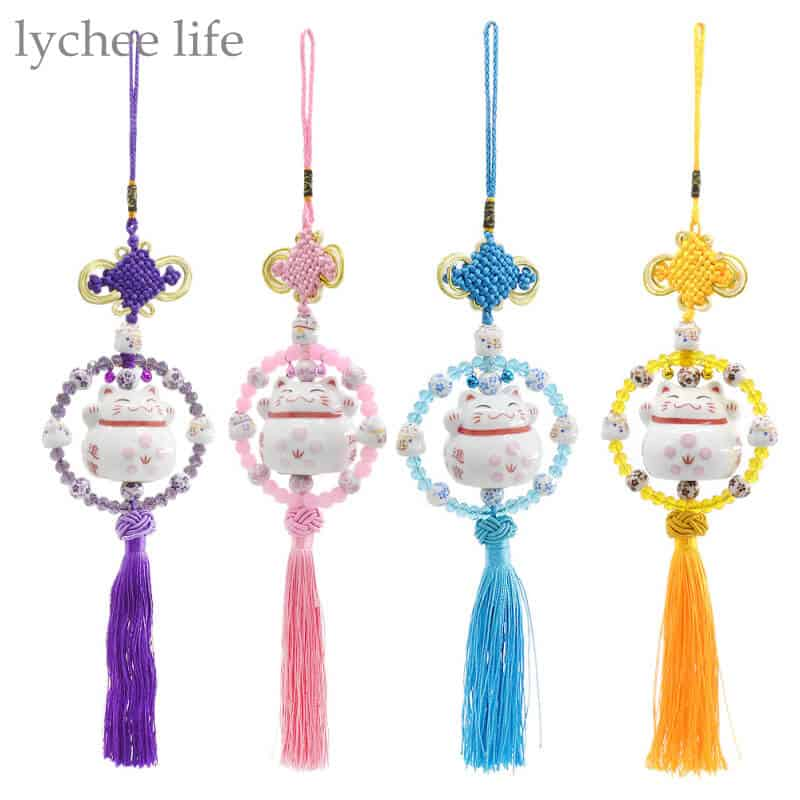 Hanging Feng Shui Cat With Chinese Knot